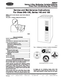 Carrier 58MVP 9SM Gas Furnace Owners Manual