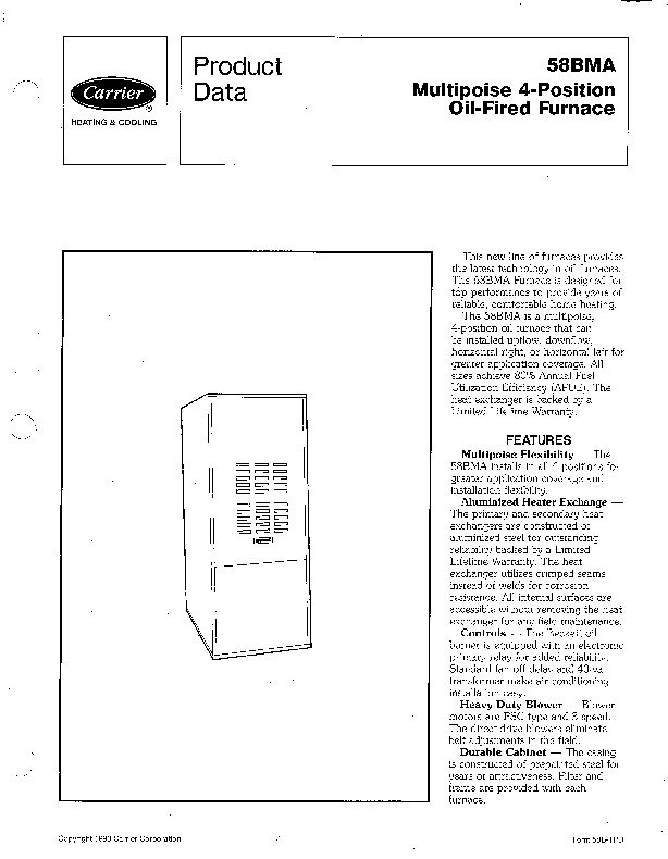 Carrier 58BMA 1PD Gas Furnace Owners Manual