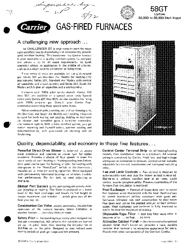 Carrier 58GT 1P Gas Furnace Owners Manual
