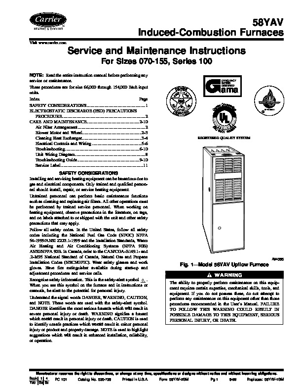 Carrier 58YAV 2SM Gas Furnace Owners Manual