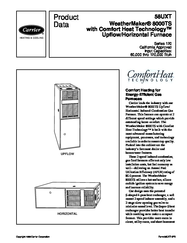 Carrier 58UXT 6PD Gas Furnace Owners Manual