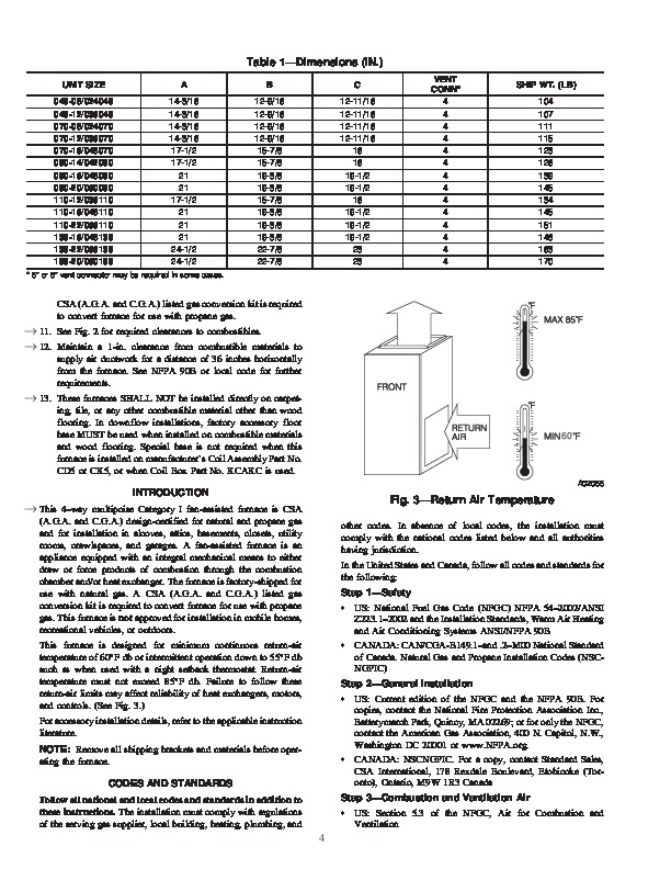 Carrier 58ST 12SI Gas Furnace Owners Manual