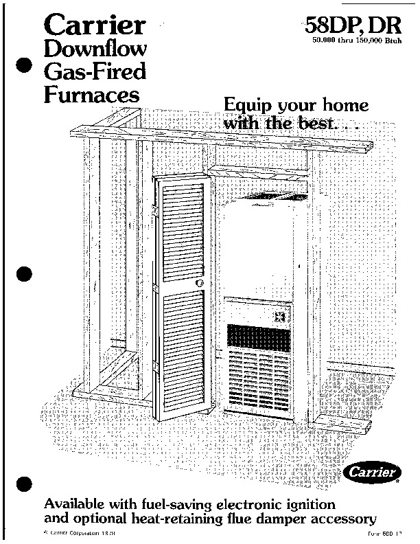 Carrier 58DP 58DR 1P Gas Furnace Owners Manual