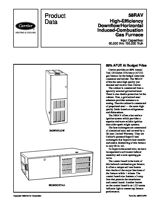 Carrier 58RAV 6PD Gas Furnace Owners Manual