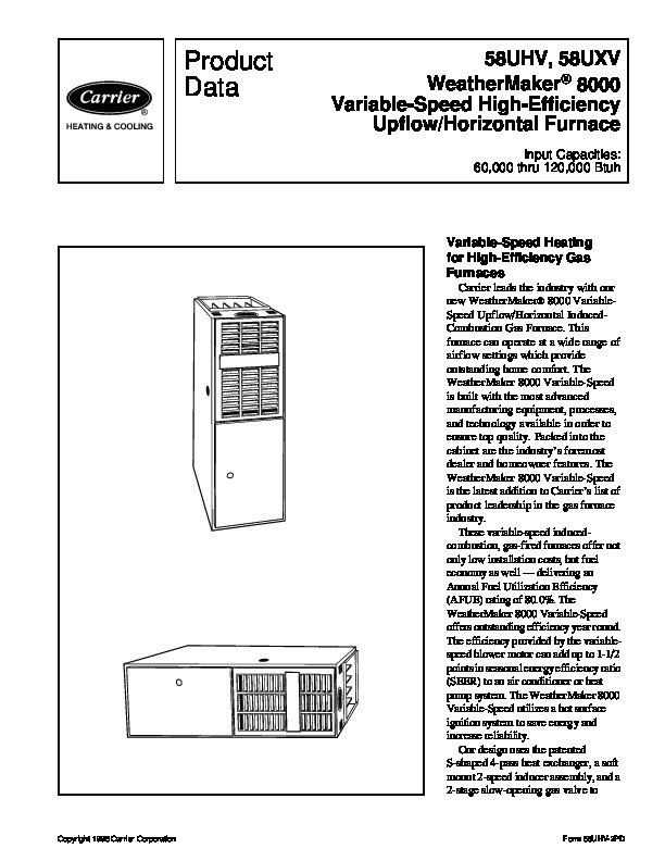 Carrier 58UHV 2PD Gas Furnace Owners Manual