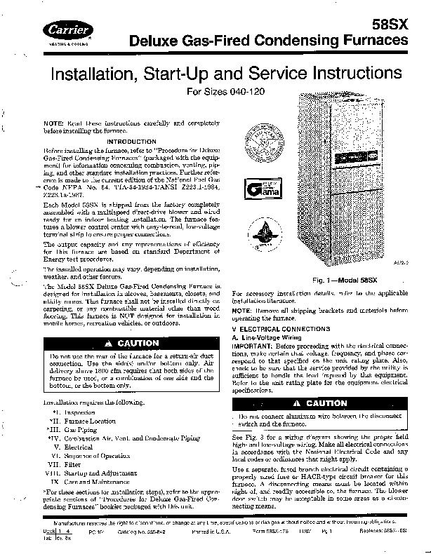 Carrier 58SX 17SI Gas Furnace Owners Manual