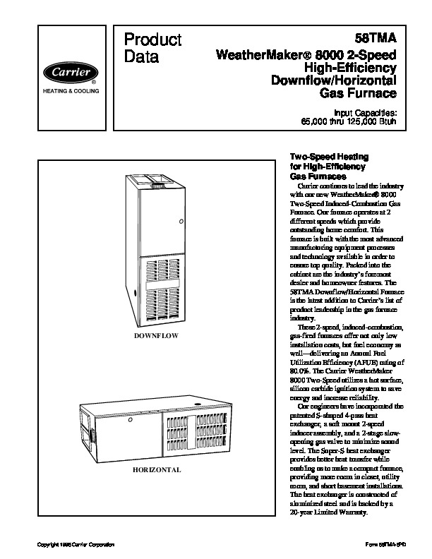 Carrier 58TMA 6PD Gas Furnace Owners Manual