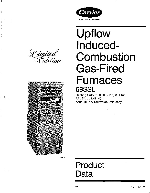 Carrier 58SSL 1PD Gas Furnace Owners Manual