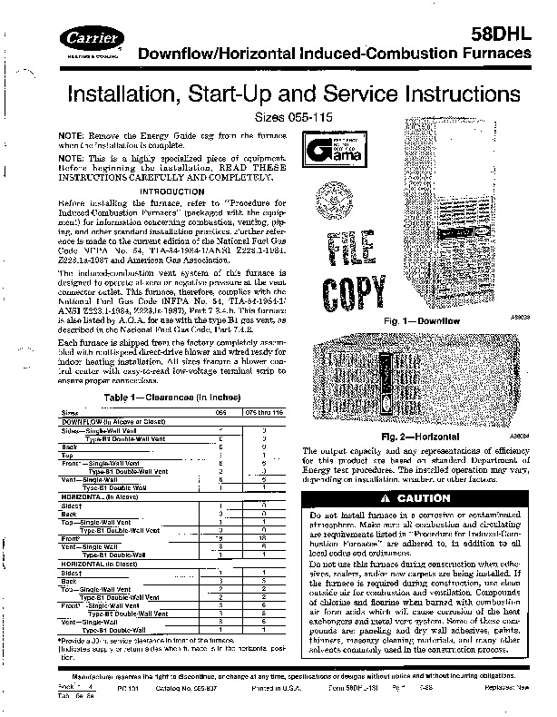 Carrier 58DHL 1SI Gas Furnace Owners Manual