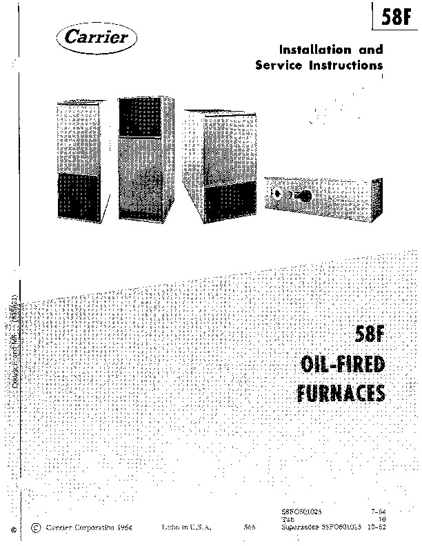 Carrier 58FO501025 Gas Furnace Owners Manual