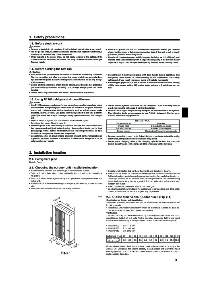 Mitsubishi PUMY P YHM Air Conditioner Installation Manual