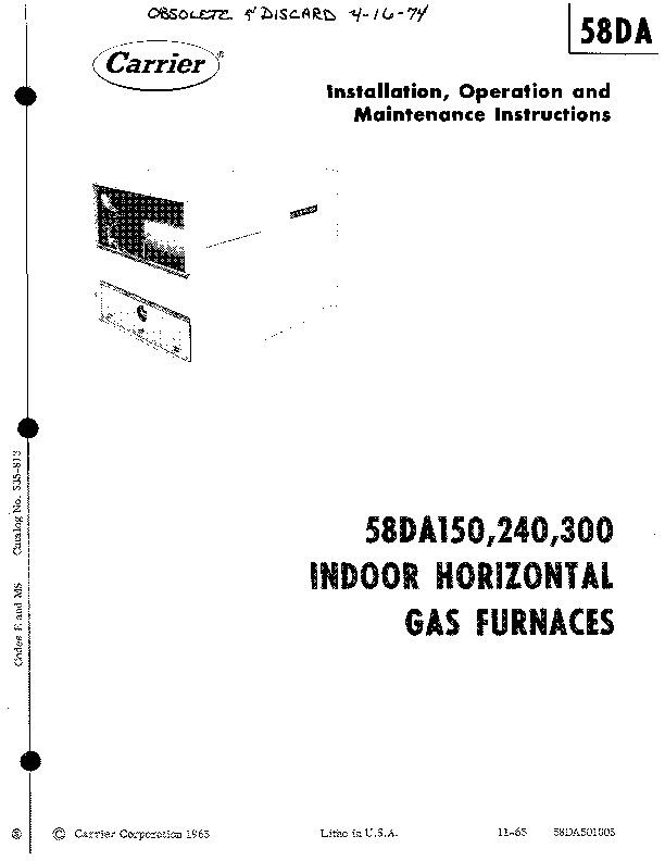 Carrier 58DA501005 Gas Furnace Owners Manual