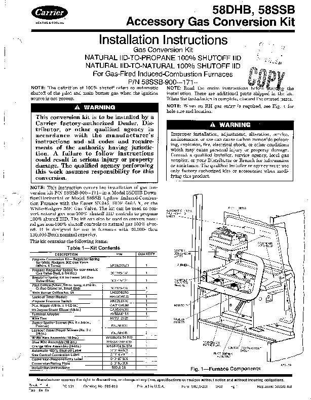 Carrier 58D 58S 2SI Gas Furnace Owners Manual