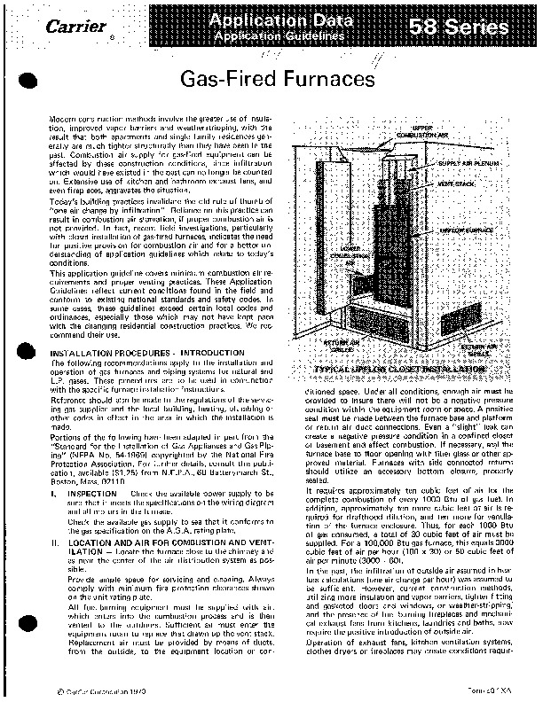 Carrier 58 Series 1XA Gas Furnace Owners Manual