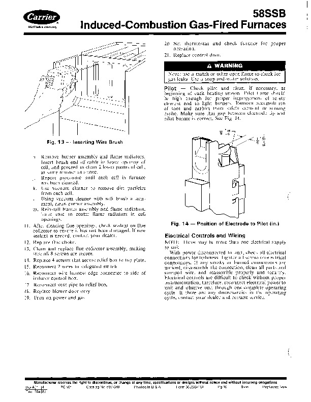 Carrier 58SSB 1SI Gas Furnace Owners Manual