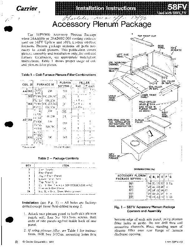 Carrier 58FV 1SI Gas Furnace Owners Manual