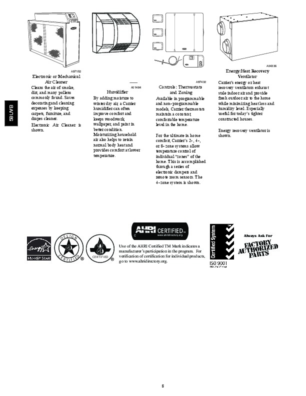 Carrier 58UVB 2PD Gas Furnace Owners Manual