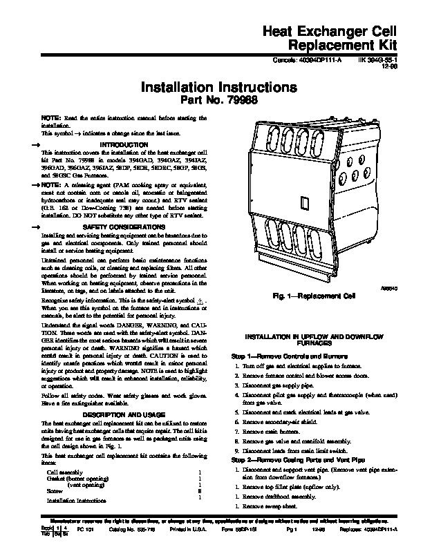Carrier 58DP 1SI Gas Furnace Owners Manual