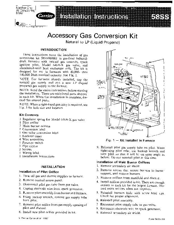 Carrier 58SS 3SI Gas Furnace Owners Manual