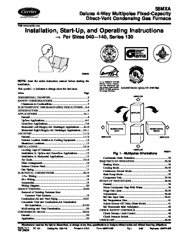 Carrier 58MXA 9SI Gas Furnace Owners Manual