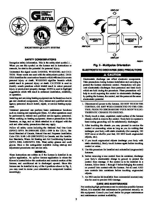 Carrier 58MXA 8SM Gas Furnace Owners Manual