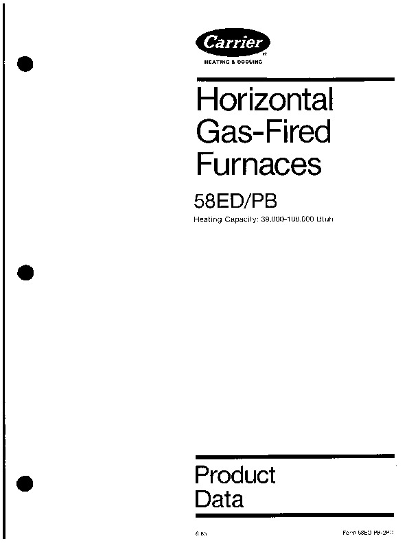 Carrier 58ED 58PB 2PD Gas Furnace Owners Manual