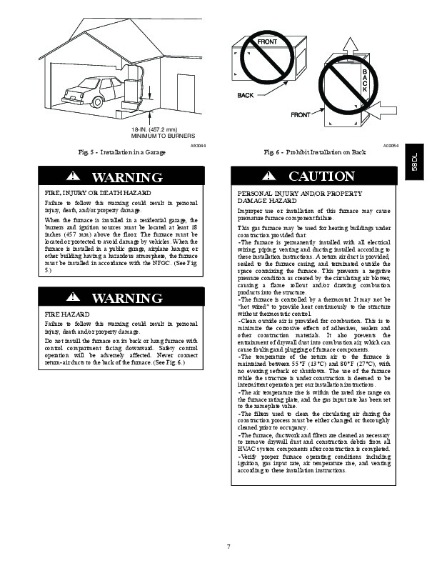 Carrier 58DL 10SI Gas Furnace Owners Manual
