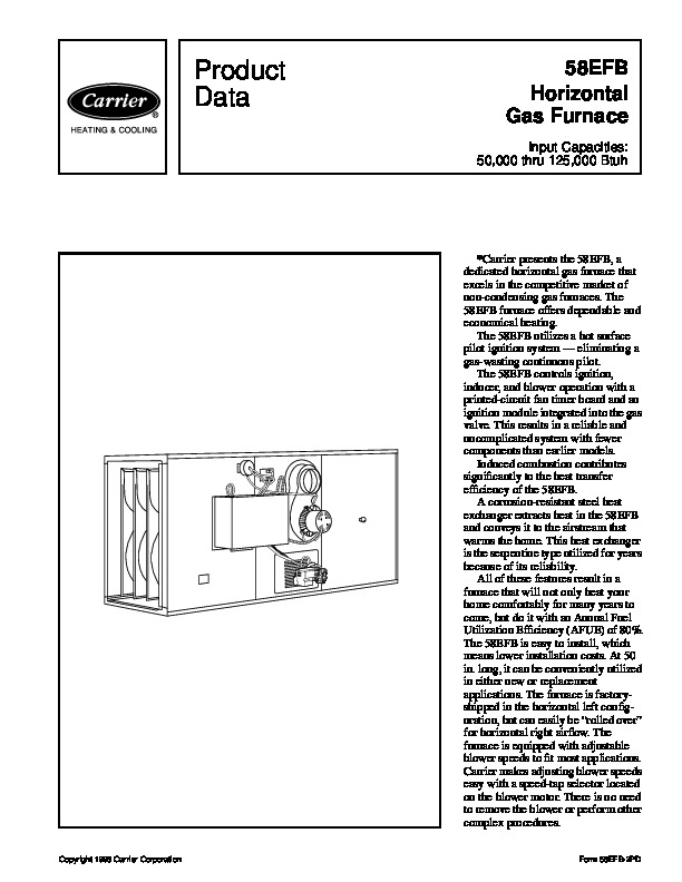 Carrier 58EFB 2PD Gas Furnace Owners Manual