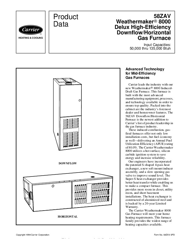 Carrier 58ZAV 3PD Gas Furnace Owners Manual