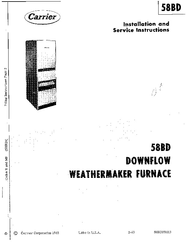 Carrier 58BD501015 Gas Furnace Owners Manual