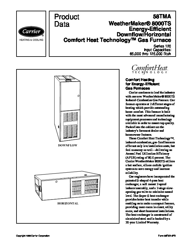 Carrier 58TMA 9PD Gas Furnace Owners Manual