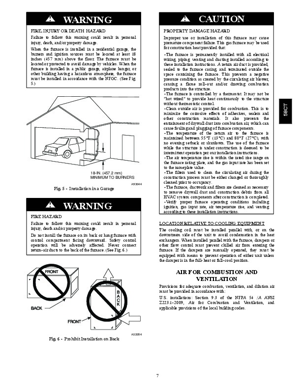 Carrier 58CTA 58CTX 11SI Gas Furnace Owners Manual