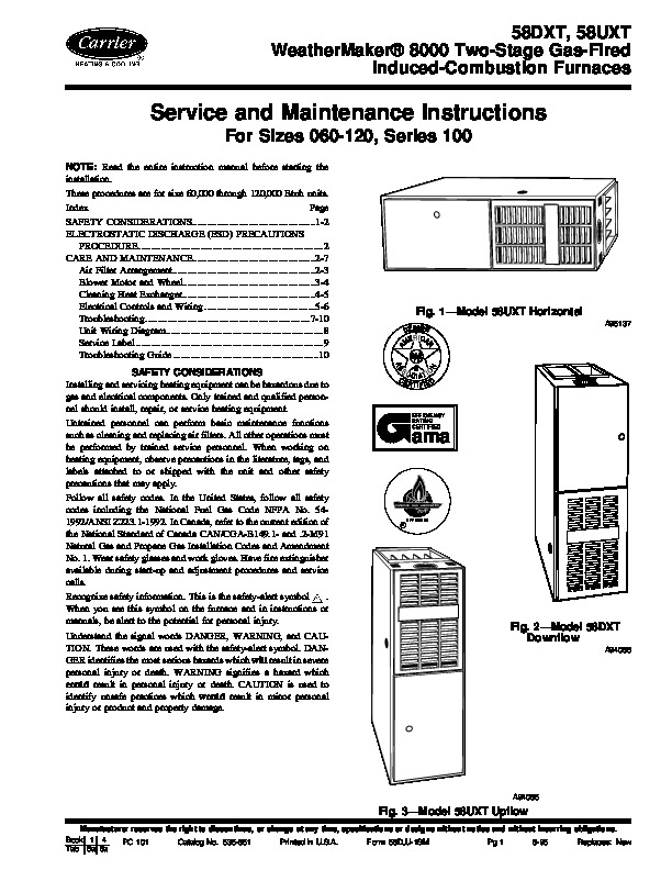 Carrier 58D 58U 1SM Gas Furnace Owners Manual