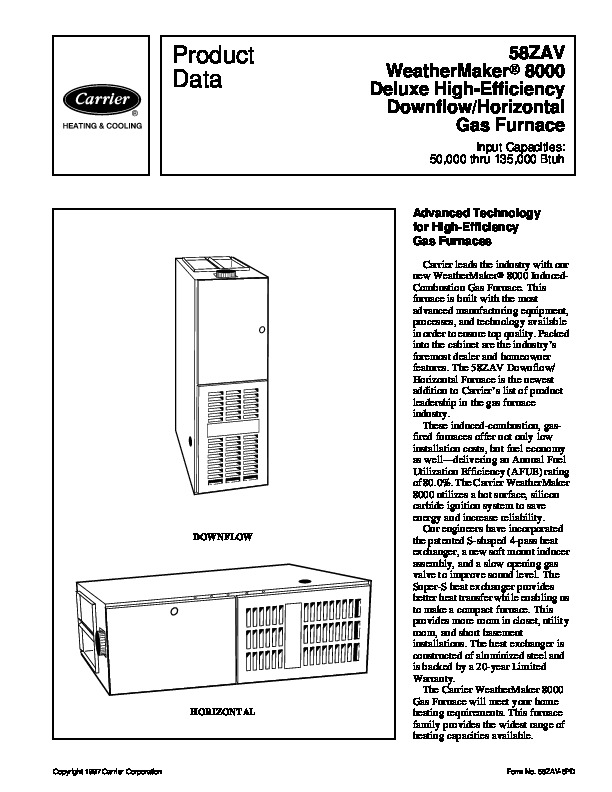 Carrier 58ZAV 6PD Gas Furnace Owners Manual