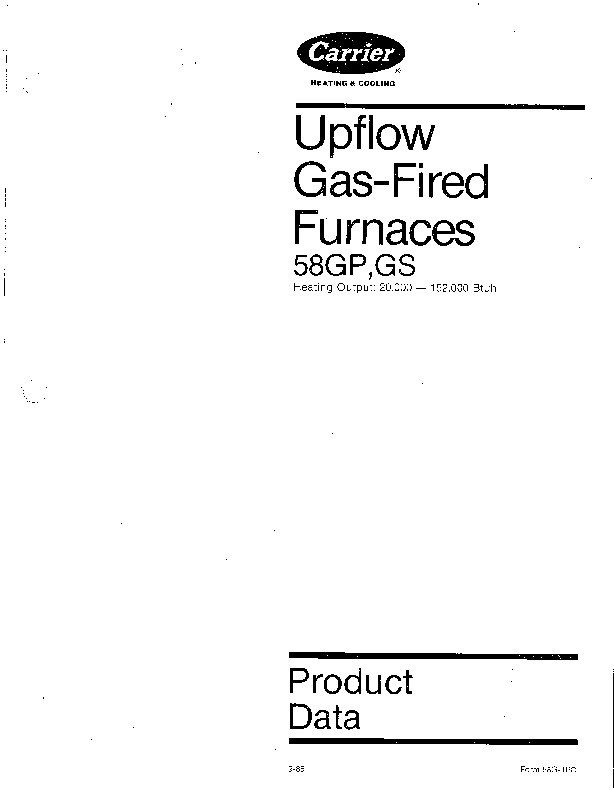 Carrier 58G 1PD Gas Furnace Owners Manual