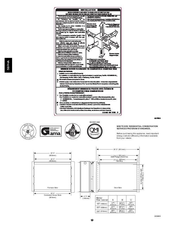 Carrier 58PHA 04PD Gas Furnace Owners Manual