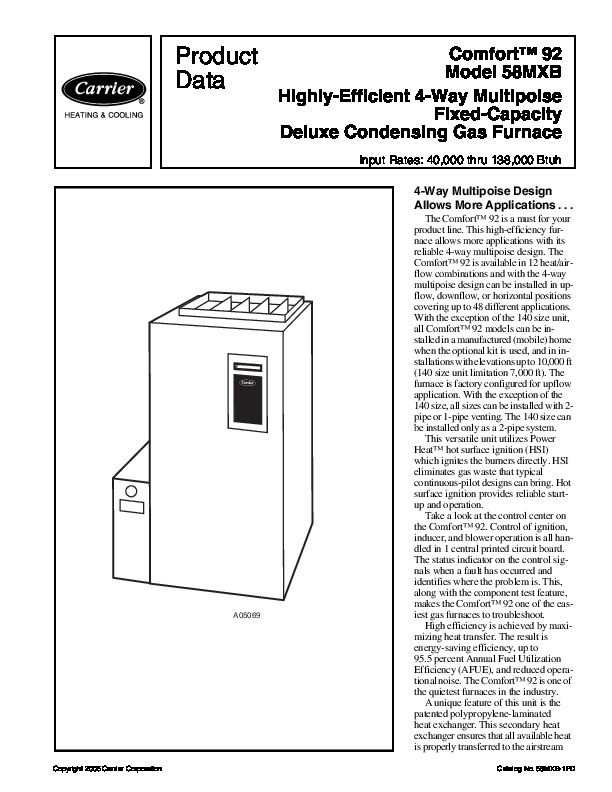 Carrier 58MXB 1PD Gas Furnace Owners Manual