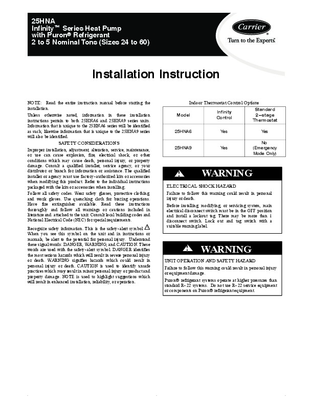 Carrier 25hna 5si Heat Air Conditioner Manual