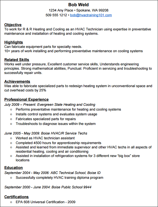 How To Create A Standout HVAC Resume With Example Resume