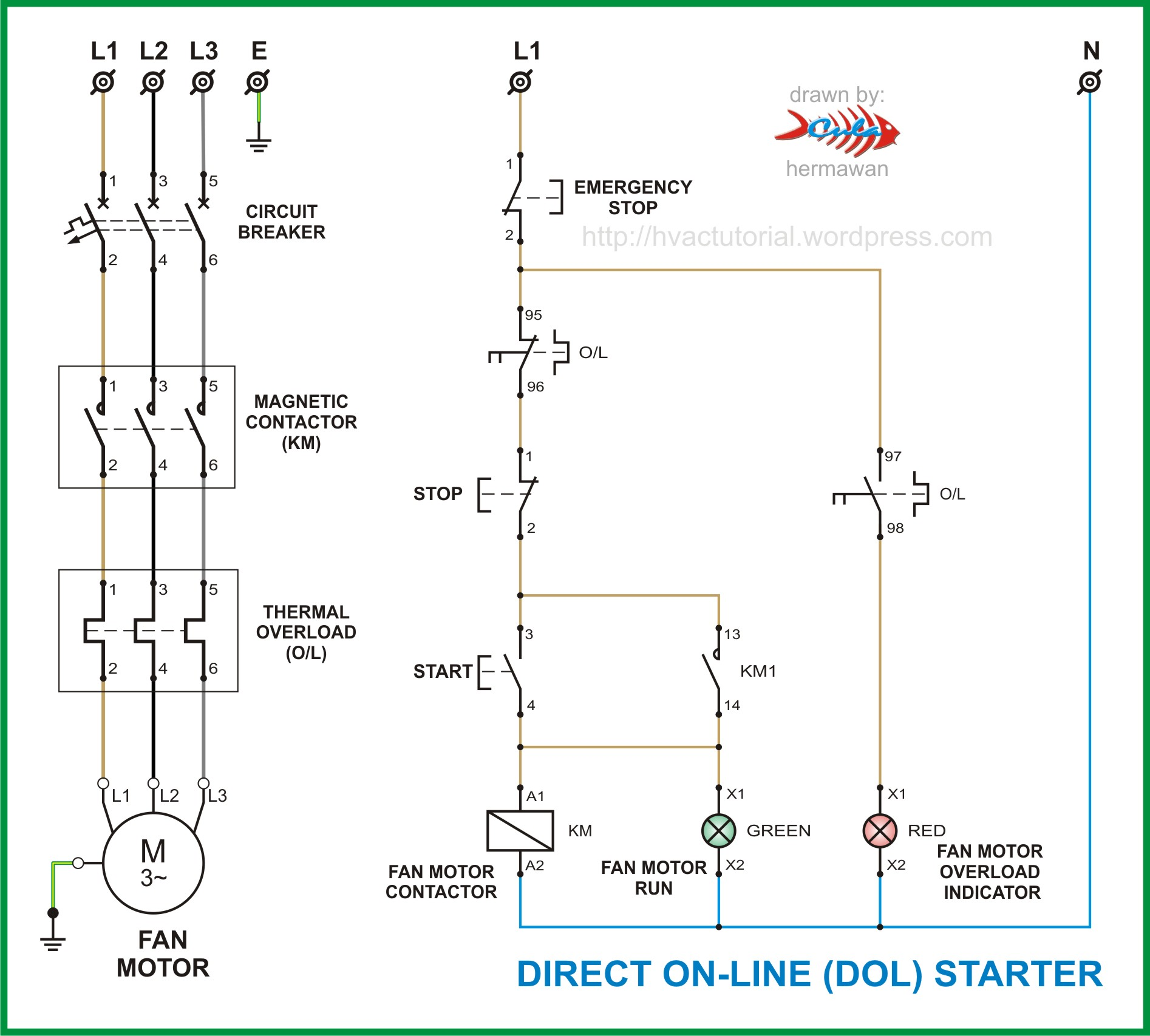 single phase reversing contactor wiring diagram radio for 2004 chevy silverado with bose system dol starter | hermawan's blog (refrigeration and air conditioning systems)