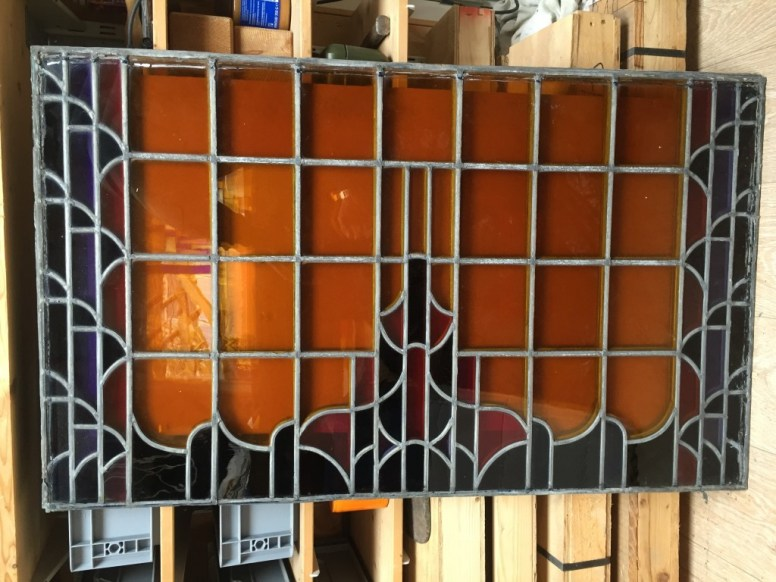 Originele glas in lood ruit gereinigd