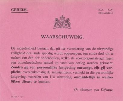 De inhoud van telegram P: de vooraankondiging tot persoonlijke lastgeving om in werkelijke dienst te komen. © Archief Stichting Fort a/d Hoek van Holland