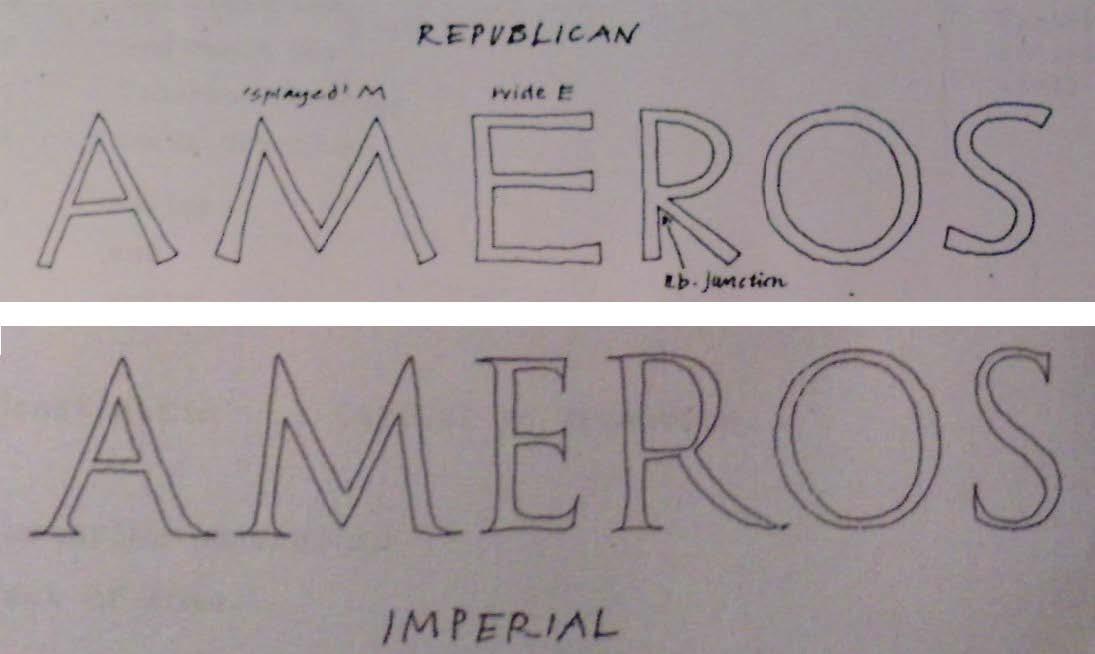 Figur 1. Utviklinga frå monolineær stil i den republikanske æraen til duolineært med seriffar, strekkontrast og nye, meir individuelle bokstavformar i den keisarlege æraen (Paul Stiff).