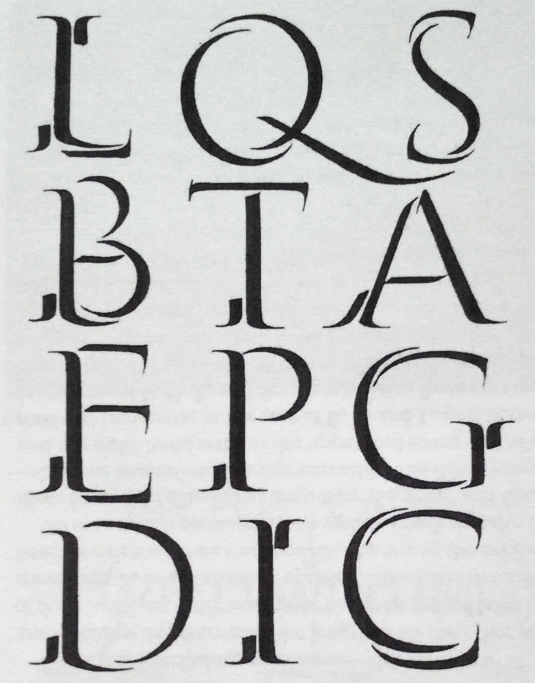 Figur 3. Penselstrøka som i følgje Catich kan vera opphavet til seriffane (Hochuli 1973, s. 85).
