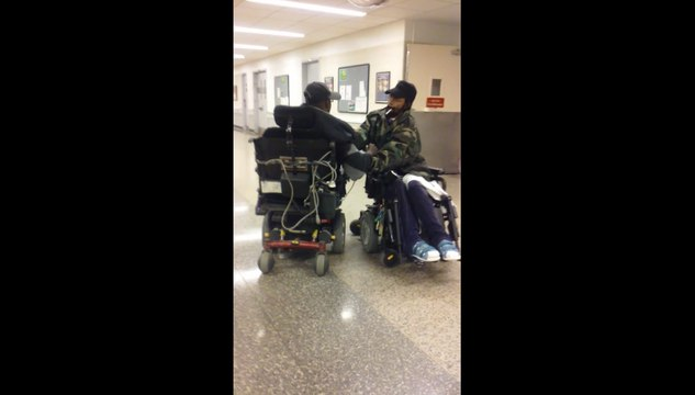 wheelchair fight bar high chairs handicap two guys in wheelchairs go at it video