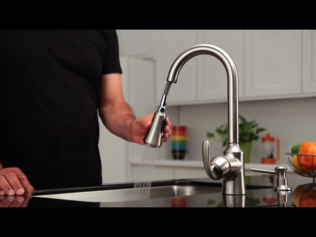 moen pull down kitchen faucet sink with cutting board aberdeen one handle reflex at menards
