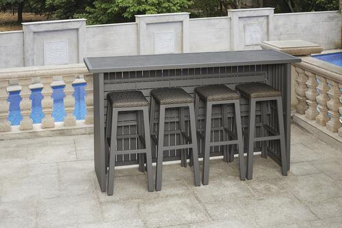 galloway tan 5 piece patio bar dining