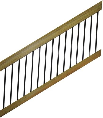 6 Treated Wood Aluminum Spindle Stair Railing Section At Menards® | Installing Deck Stair Railing | Outdoor Stair | Baluster | Railing Ideas | Stair Treads | Stair Stringers