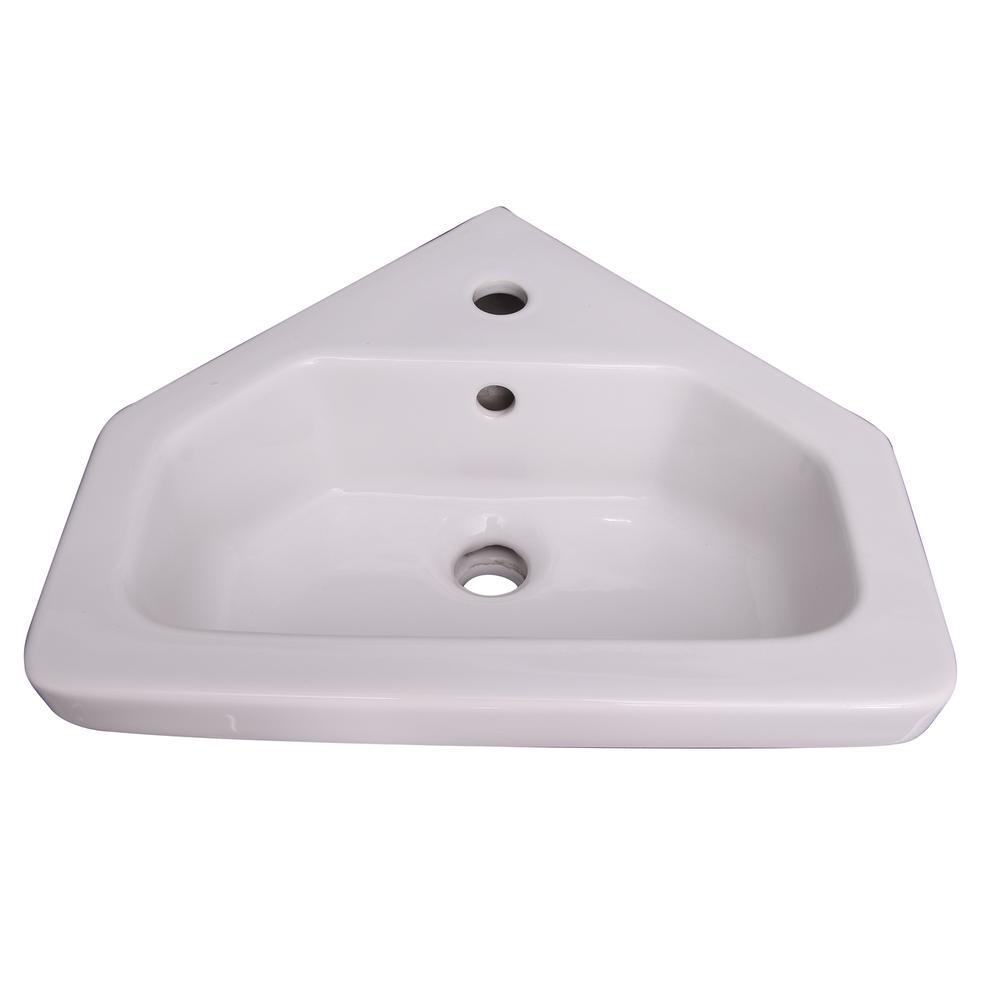 white corner bathroom pedestal sink
