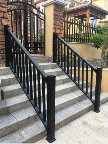 Premium 36 X 6 Black Vinyl Stair Rail At Menards® | Black Steel Stair Railing | Custom | Wood | Residential Indoor Residential Glass | Stainless Steel | Concrete